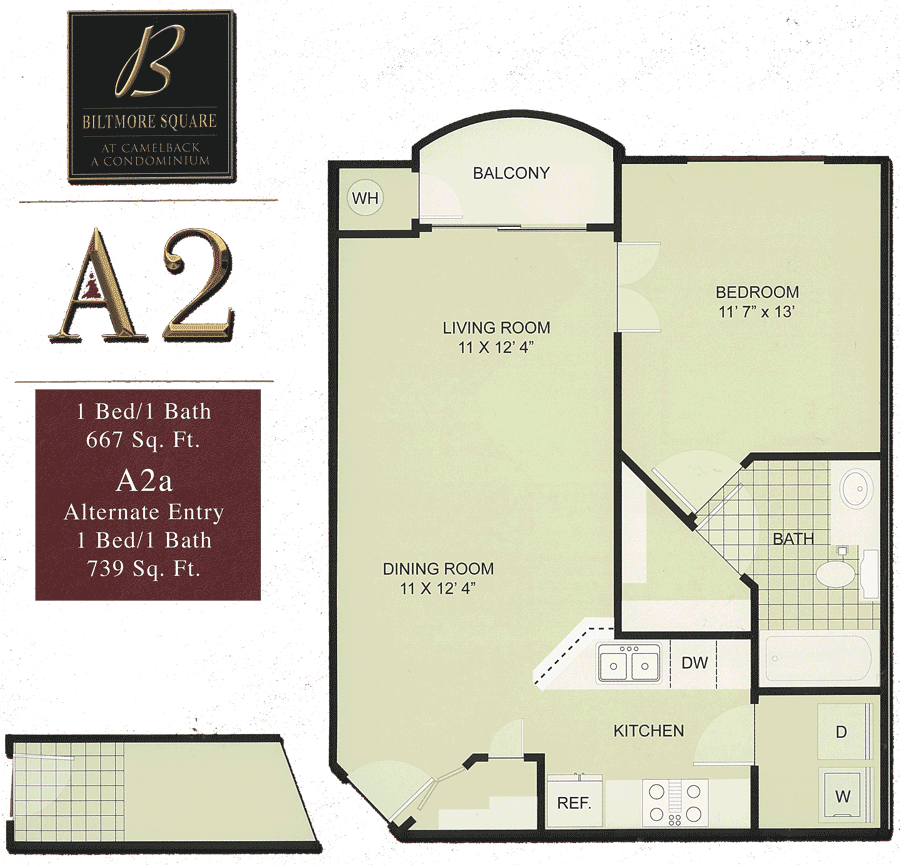 Biltmore Square A2: 1 Bedroom w/ Balcony