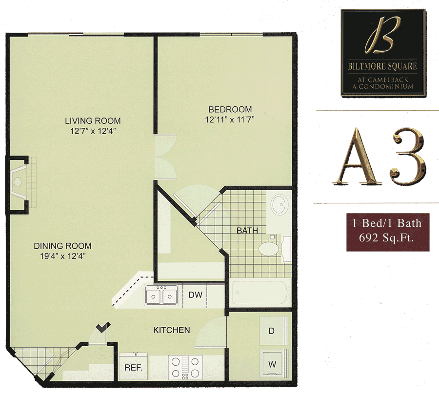 Biltmore Square A3: 1 Bedroom