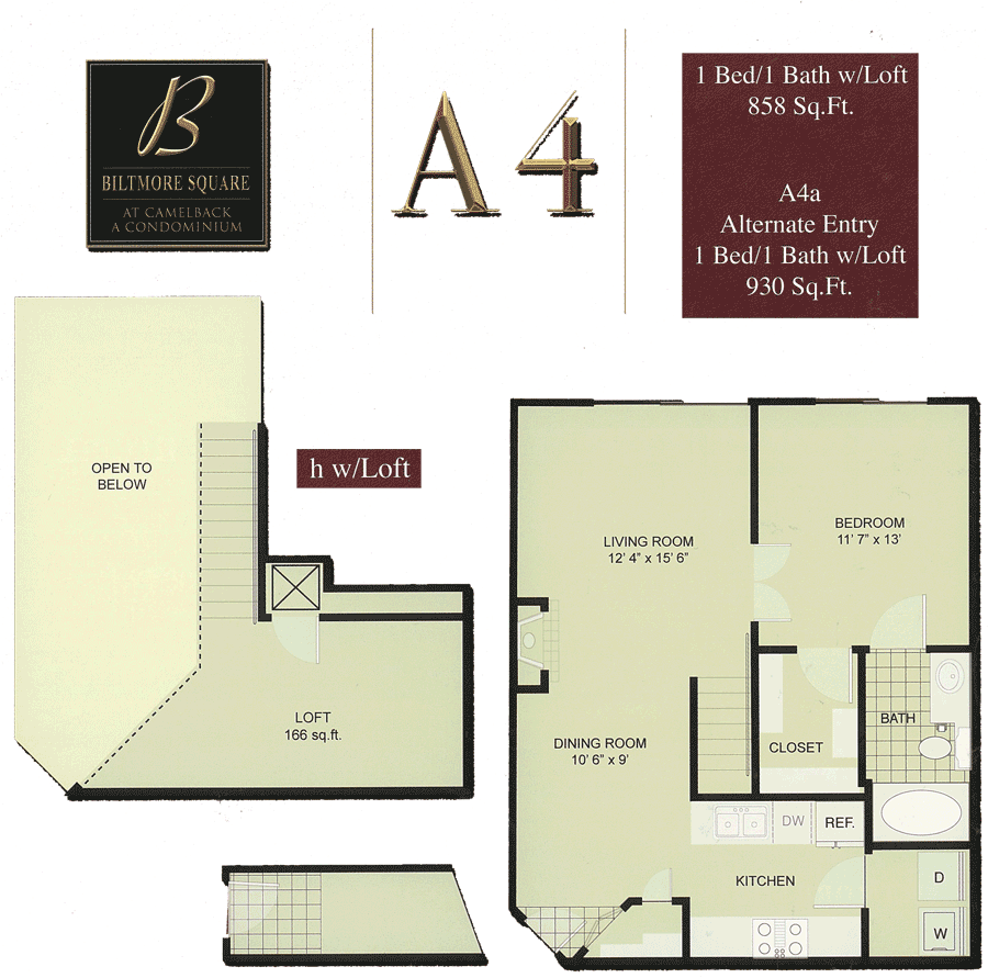 Biltmore Square A4: 1 Bedroom w/ Loft