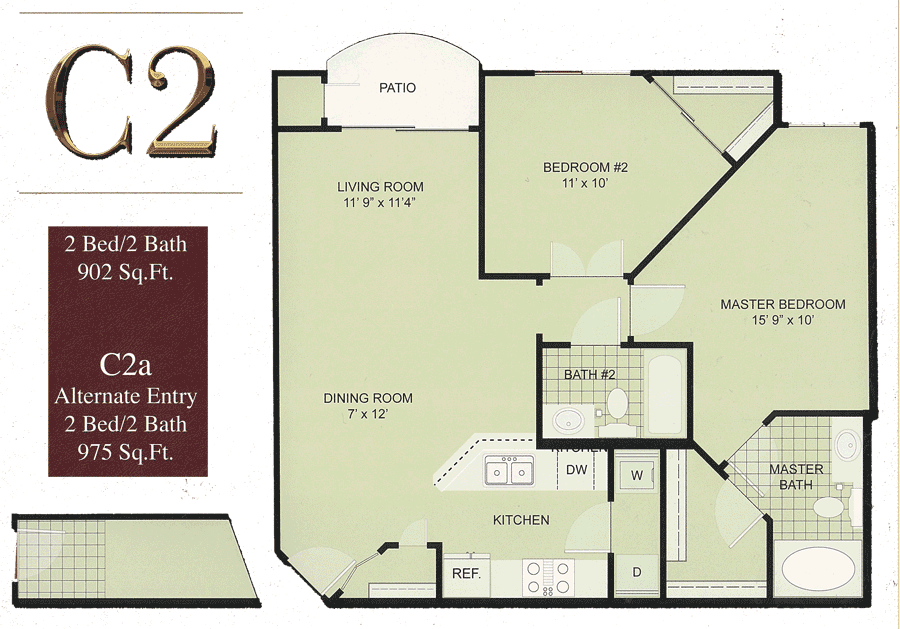 Biltmore Square C2: Medium 2 Bedroom w/ Balcony