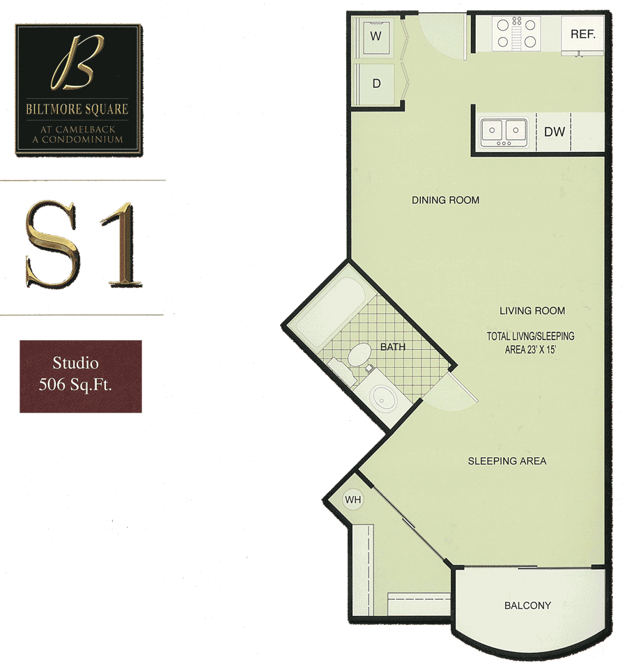 Biltmore Square Condo Floor Plans. Biltmore Square S1: Studio